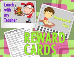 Reward Cards with Punch Cards for Classroom Management This Reward Card Pack has 20 different reward cards. From lunch with the teacher to a homework pass and 18 more!