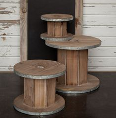 Display Risers | Large Wooden Spools--SMALL but may still blend nice with the real metal ones Large Wooden Spools, Wooden Spool Tables, Cable Spool Tables, Wooden Cable Spools, Wood Spool, Antique Farmhouse, Farmhouse Decor, Farmhouse Style, Buffet