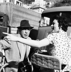 Humphrey Bogart and Ava Gardner in Spain, on the set of The Barefoot Contessa. 1954.