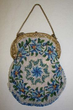 Antiques Trend Mark Antique Crochet Cobalt Blue Bugle Bead Tiered Fringe Drawstring Flapper Purse