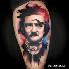 Edgar Allen Poe, by Chris Toler (Nashville Tattoo Horror Convention) So awesome to see Chris' work on here!