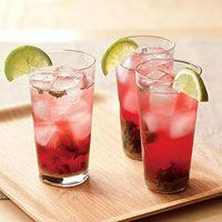 Red Mojitos... 1 tablespoon sugar, 7 mint leaves,  1/2 lime, quartered; 1 1/2 ounces light rum (optional), Ice, 2 1/2 ounces cranberry juice, 1 1/2 ounces tonic  Directions: Muddle sugar, mint and lime in highball glass. Add rum (if using) and ice; top off with juice and tonic. Stir.