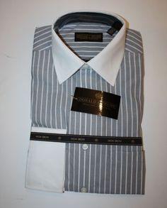 Mens Size 15.5 34/35 Gray Striped French Cuff Donald Trump Dress Shirt NEW NWT