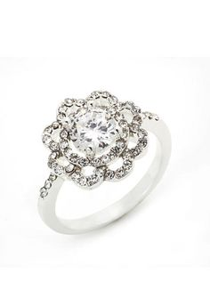 New Directions® Silver-Tone Cubic Zirconia Flower Boxed Ring
