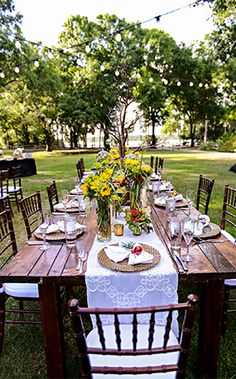 This romantically rustic wedding reception transformed Disney's Fort Wilderness Resort into outdoor chic!
