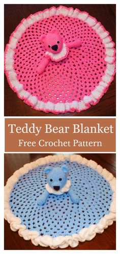 Teddy Bear Granny Circle Security Blanket Free Crochet Pattern