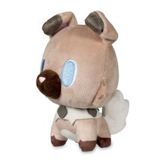 Official Rockruff Pokémon Dolls Plush stands 5 1/2 inches tall, with big embroidered eyes and small legs. Pokémon Center Original design.