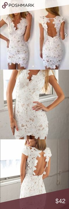 NWT White Lace Dress XS NWT For The Love & Fast Fashion beautiful white floral lace dress. It's a XS and runs true to its size. It's brand new, never bee worn before! For Love & Fast Fashion Dresses Mini