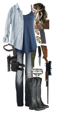 """""""The Walking Dead Alexandria Daryl's Wife 2"""" by werewolf-gurl ❤ liked on Polyvore featuring DbDk, Fracomina, OUTRAGE, CP Shades, NOVICA and Bullet"""