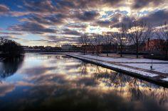 Sunset over Stångån River, Linköping, Sweden by diesmali, via Flickr