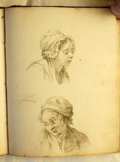 carnet à dessins du milieu du XVIII ème siècle anonimo