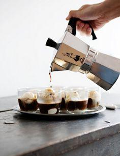 Italian Affogatto - Espresso with Haagen Daz ice cream...so easy so delicious, perfect end to any meal!