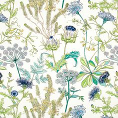 Teal and Navy Blue Upholstery Fabric - Green Yellow Floral Headboard Material - Abstract Blue Floral Curtains - Teal Home Decor Yardage