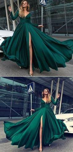 Charming Dark Green Prom Dress,Sexy Deep V-Neck Prom Dress,Long Sleeves Prom Dresses Prom Dress,Leg Split Evening Gowns Dark Green Prom Dresses, Split Prom Dresses, V Neck Prom Dresses, Prom Dresses 2018, Sexy Dresses, Emerald Green Wedding Dress, Emerald Green Dresses, Dark Green Long Dress, Sleeved Prom Dress