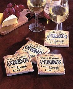 """A Set of 4 Personalized Travertine Stone Coasters makes a great gift for any occasion. Each stone coaster protects your table surfaces from water rings. Their cork bottoms help prevent scratches. 4"""" sq., each."""