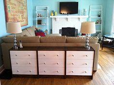 IKEA rast dressers as LR console. Credit: lmspharmd.