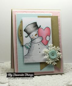 Featuring: Pure Innocence Happy Heart Snowman and Text Background!