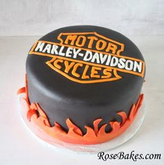 Harley-Davidson Fire Birthday Cake.  Click over for more pics and details.