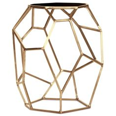 Finish: Satin Brass and Black Marble  A geometrically sculptural table hand made from satin brass with a black marble top, this piece is a beautiful work of art!