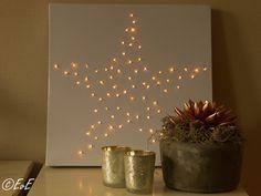 Canvasdoek met kerstverlichting. Kerstster in huis. Zelf maken voor kerst.