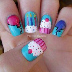 cupcakenailarts nail nails nailart BIRTHDAY THEMED NAILS