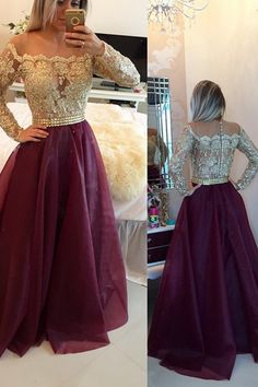 Illusion Scoop Long Sleeves Burgundy Prom/Evening Dress With Appliques Buttons