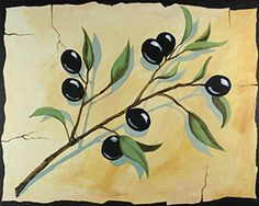 """Social Artworking Canvas Painting Design - Olive Branch  Throughout history, the olive tree has been revered as almost holy, a symbol of peace, victory, and the endurance of life itself. The delicate shape of the stems and leaves and the deep color of the olives make this an ideal painting to display in your kitchen.  CANVAS SIZE:  16"""" x 20""""  TIME TO PAINT:  approximately 2 hours"""