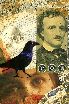 A Nostalgic Halloween: Sunday Postcard Art Challenge - Gothic Edgar Allan Poe, Quoth The Raven, Allen Poe, Art Prompts, Postcard Art, Rabe, Artist Trading Cards, Art Challenge, Mail Art