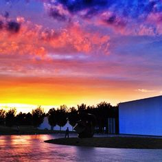 The North Carolina sky bathed in just the right amount of royal blue, soft purple, bright yellow, and Tangerine Tango. A #pantone moment in the sky at the @NC Museum of Art.
