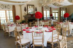 Beautifully decorated reception with touches of red