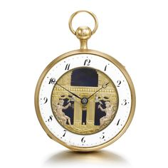 UNSIGNED A GOLD QUARTER REPEATING WATCH WITH AUTOMATONS CIRCA 1800