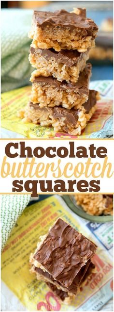 No bake recipe for Scotcheroos are the best peanut butter and butterscotch dessert recipe ever that has chocolate in it too. Super easy to make with cereal. Dessert Cake Recipes, Easy No Bake Desserts, Easy Baking Recipes, Dessert Bars, Easy Desserts, Gourmet Recipes, Delicious Desserts, Bar Recipes, Vegan Desserts