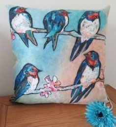 Swallows and Swirls Cushion by Dawn Maciocia . . Sold by TartanPlusTweed.com A family owned kilt and gift shop in the Scottish Borders