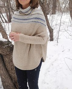 Poncho Pullover Capel by Irina Antosha knit in a 4ply Fingering yarn, bottom-up, in the round, with a circular yoke. FREE download via Ravelry
