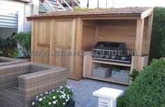 Backyard Bbq Shed New Ideas Outdoor Sinks, Outdoor Fire, Outdoor Living, Deck Landscaping, Backyard Patio Designs, Backyard Bbq, Bbq Shed, Garden Storage Shed, Shed Design