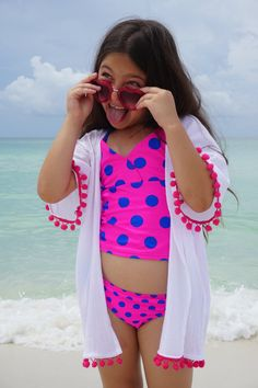 Beach cover up for girls coverup with Pom poms by YourBeachHouse