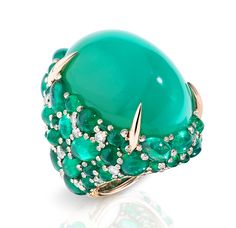 Pom Pom ring in 18k white and rose gold composed of an oval cabochon chrysoprase, oval cabochon emeralds and brilliant cut diamonds.