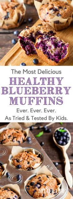 This easy homemade blueberry muffin recipe makes the very best moist and healthy blueberry muffins ever! They are gluten, egg, and dairy free - but are loaded with flavor from fresh or frozen blueberries, maple syrup, and the best cinnamon and vanilla. These blueberry muffins are made super healthy by adding flax seed, chia seeds, and oatmeal for fiber. This simple, clean-eating recipe is perfect for breakfast or snacks and the kids love it!! #healthymuffins #blueberrymuffins…