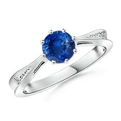 Angara Platinum Prong Set Round Natural Sapphire Curved Shank Twisted Ring sfaoTN