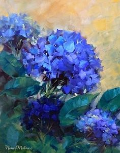 Blue Summer Garden Hydrangea Painting - by Nancy Medina