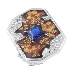 Fascinate your fashion style with the forever beauty of simulated blue diamond and Austrian crystal ring. Complimented with enamel work, this ring glows in stainless steel. This ring is perfect to add a touch of elegance to any of your outfits.  Free Shipping Gift Box
