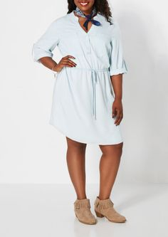 Light Blue Chambray Shirt Dress