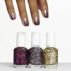 bling it on by essie - gradients of glitter in pink, platinum, and gold blend into a nail art design of pure fortune.