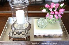 Project Design: How To Style Your Coffee Table...These are my Five Basic Elements,  something:  •TALL •SMALL •FRESH •INTERESTING •CANDLE FOR AMBIENCE
