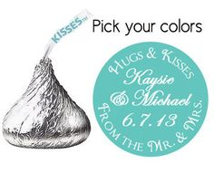 stickers for HERSHEY'S KISSES wedding favors (kiss1) hugs and kisses from the mr and mrs custom personalized customized on Etsy, $20.00