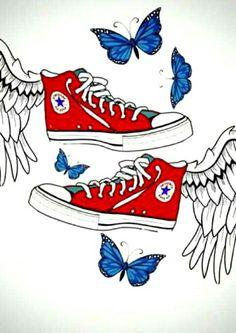 Fanart com os símbolos de cada livro: Perdida - All Star » Procura-se um Marido - Borboletas » No mundo da Luna - Asas de anjo - símbolos dos livros da Carina Rissi