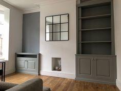 Alcove Ideas Living Room, Built In Shelves Living Room, Cosy Grey Living Room, Alcove Cupboards, Victorian Living Room, Media Unit, Extension Ideas, Lounge Decor, Living Room Inspiration