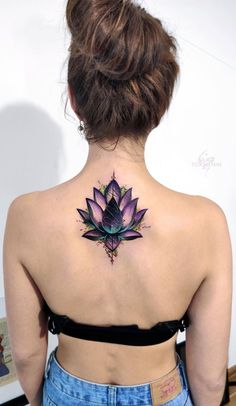 Beautiful looking and with a rich symbolism behind, lotus tattoos are absolutely gorgeous. Here you'll find everything you need to know about a lotus tattoo and some awesome imagery for inspiration. Cover Up Tattoos For Women, Neck Tattoos Women, Best Tattoos For Women, Tattoo Women, Woman Back Tattoos, Cover Up Back Tattoos, Flower Cover Up Tattoos, Back Of Neck Tattoos For Women, Girl Neck Tattoos