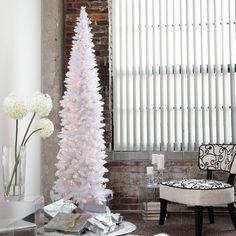 i love a great white tree if done right i also love this one for its small footprint winter park pre lit pencil christmas tree artificial christmas - White Pre Lit Christmas Trees
