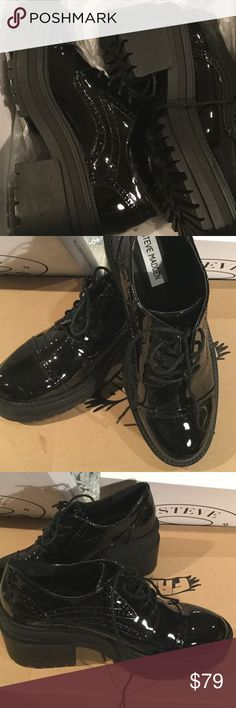 Steve Madden Exceed Black leather Oxford RARE NWT Steve Madden Exceed Black Patent leather Oxford pumped up. Runs big . - With a chunky heel and platform lug soles, EXCEED is not your typical lace-up! Make a playfully polished fashion statement by styling these pate.Freebird by Steve   Free People, Freebird by Steve,  Urban outfitters nasty gal, free people, forever 21 boho hippy hippie cute sexy hot Abercrombie hollister Aeropostale American eagle apparel LF express h&m Brandy Melville…